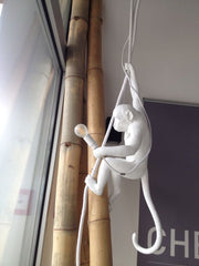 Quirky white hanging Monkey Pendant light | Seletti Replica