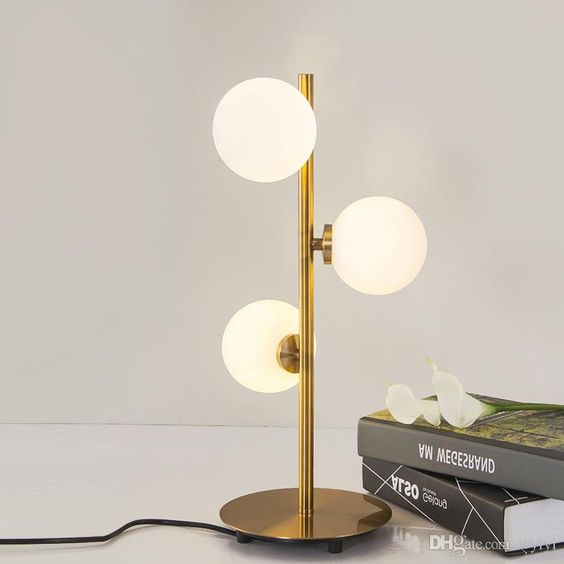 White & Brass Globe Deco Triple Arm