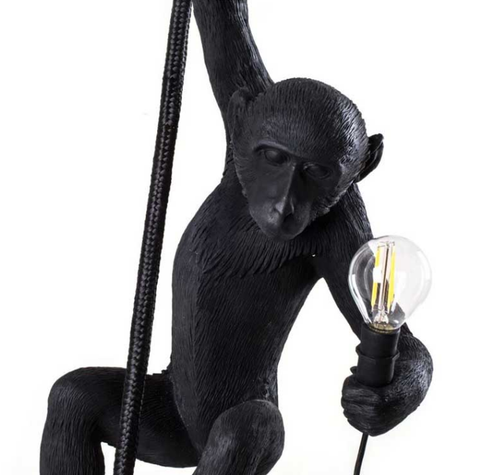 Hemp rope white hanging Monkey Pendant light Black | Seletti Replica