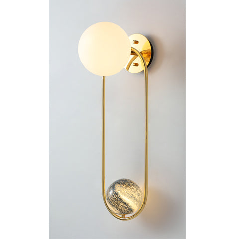Gold Long ringed Planet Globe with Frosted Globe Wall Light