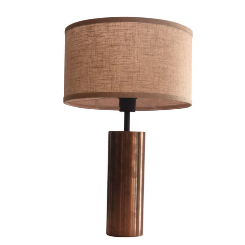 Classic Table Lamp Linen Shade Brass Finish