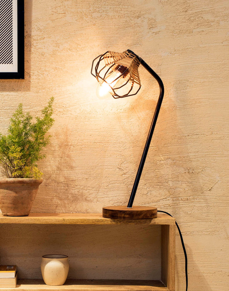 Seagrass Wireframe Boho Table Lamp