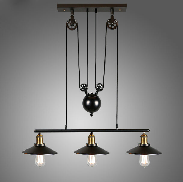 Adjustable Pulley Black Hanging Lamp 3 Heads