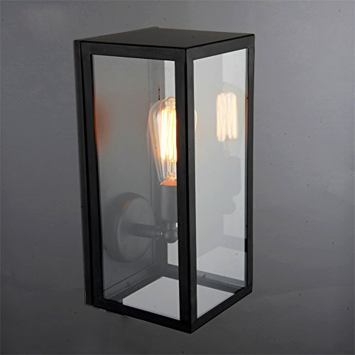 Rectangle Black Single-Light Indoor/Outdoor Wall Lantern