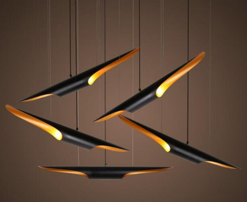 CHARMING UNIQUE HANGING LAMP WITH BAMBOO SHAPE IN BLACK AND GOLD