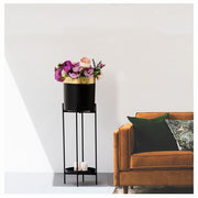 CYLINDRIC GOLD BLACK  PLANTER