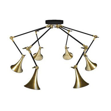 Trumpet Brass Spider 5-light Chandelier
