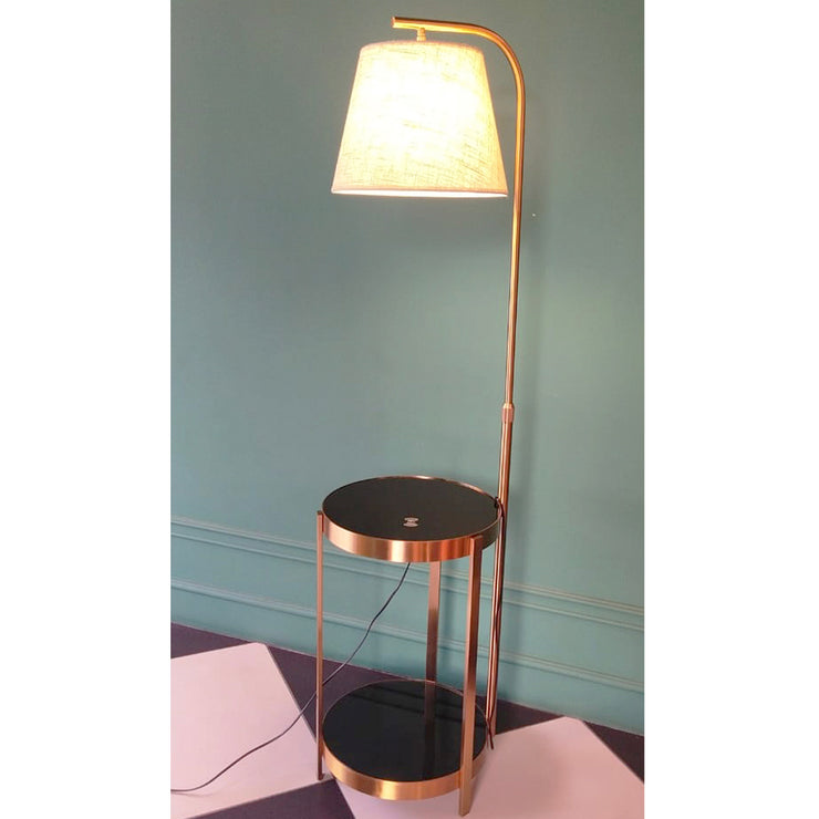 Dual Tray Floor lamp with fabric shade