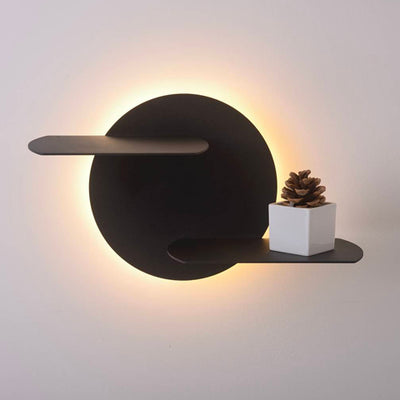 Bedside Halo Black Metal Dual Tray Wall Light
