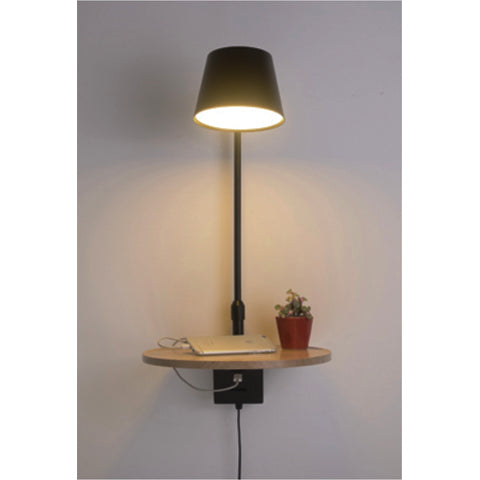 Bedside Nordic adjustable Wall Lamp Wooden Tray with USB charger
