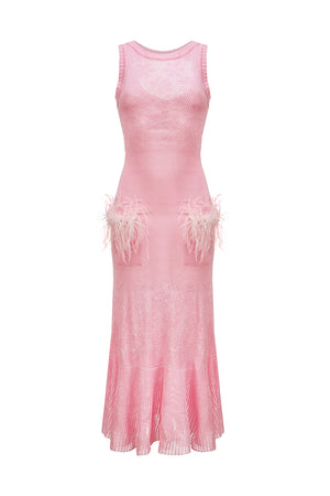 andreeva pink knit dress