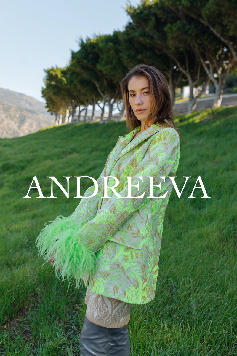 andreeva mint jacket with feathers cuffs