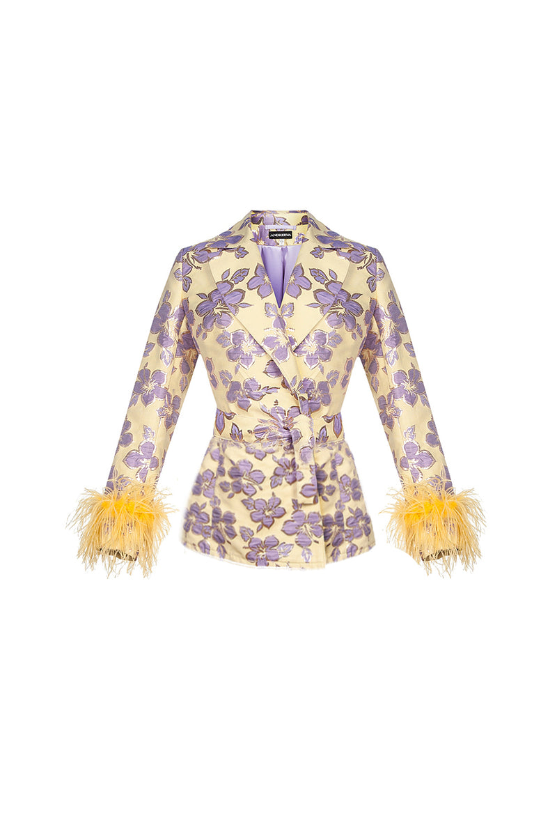 andreeva jacket with feathers