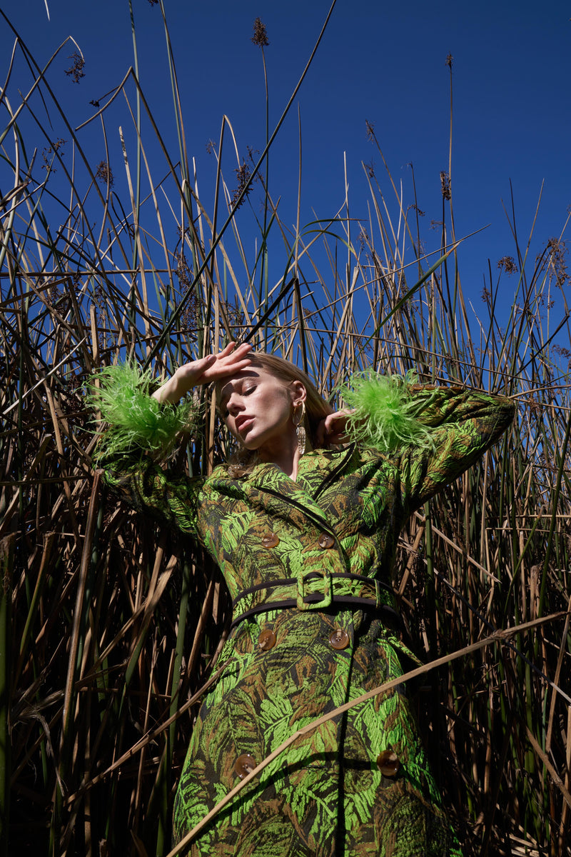 Green Jacqueline Coat  №20 Detachable Feather Cuffs