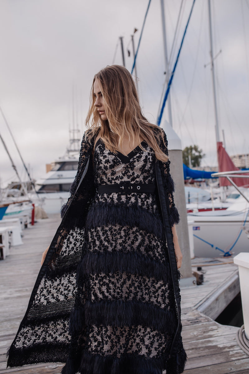 Black Sundown Handmade Knit Cardigan - cardigan