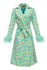 andreeva coat with feather cuffs