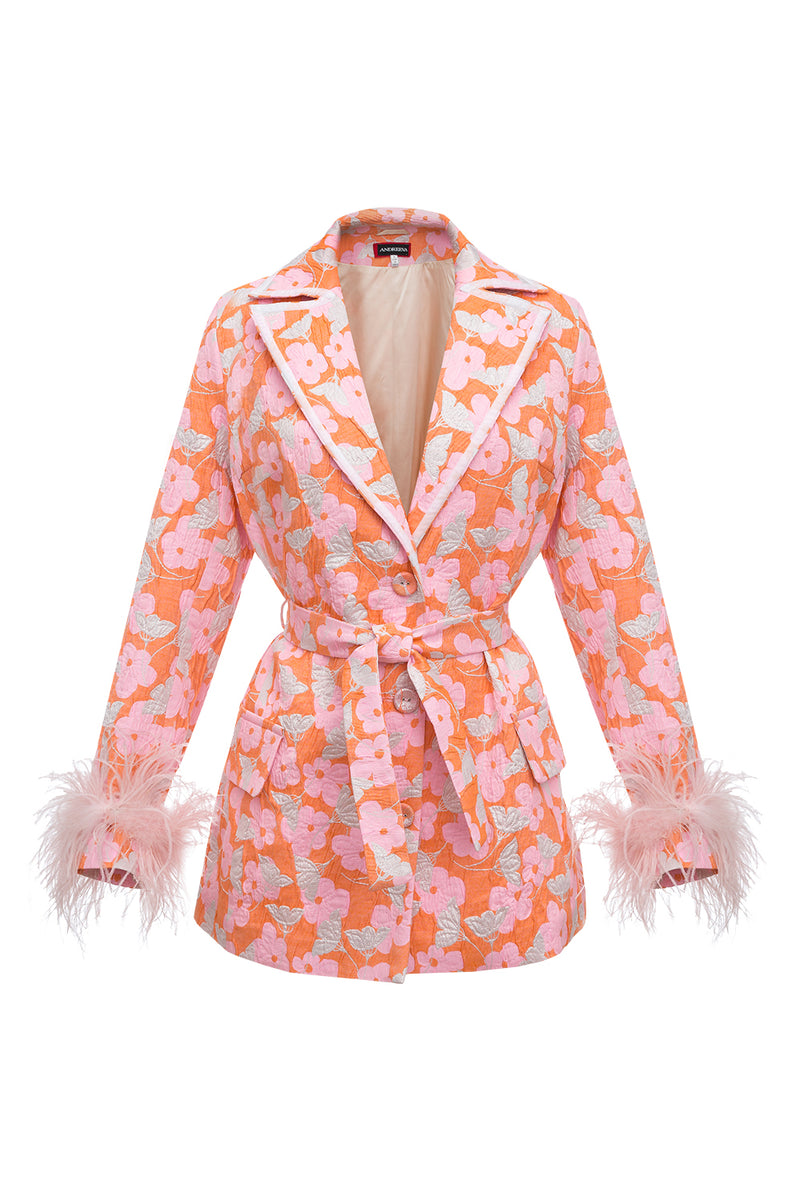 andreeva jacket with feathers cuffs