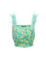andreeva mint top with feathers