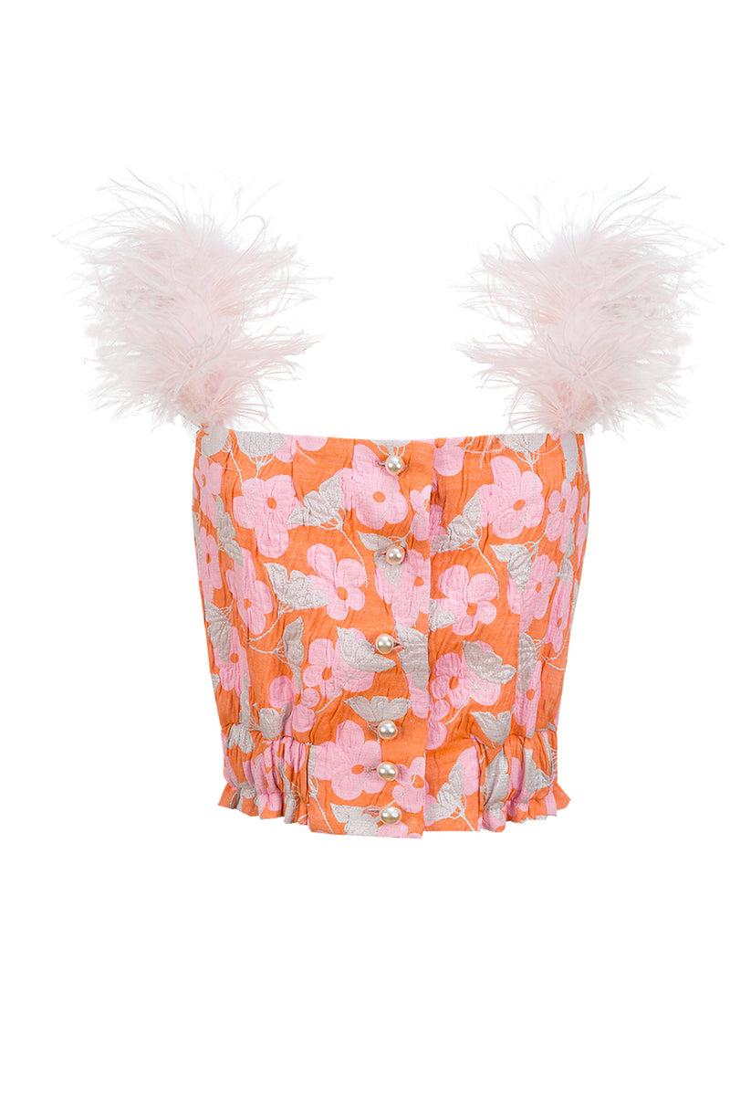 andreeva pink top with feathers