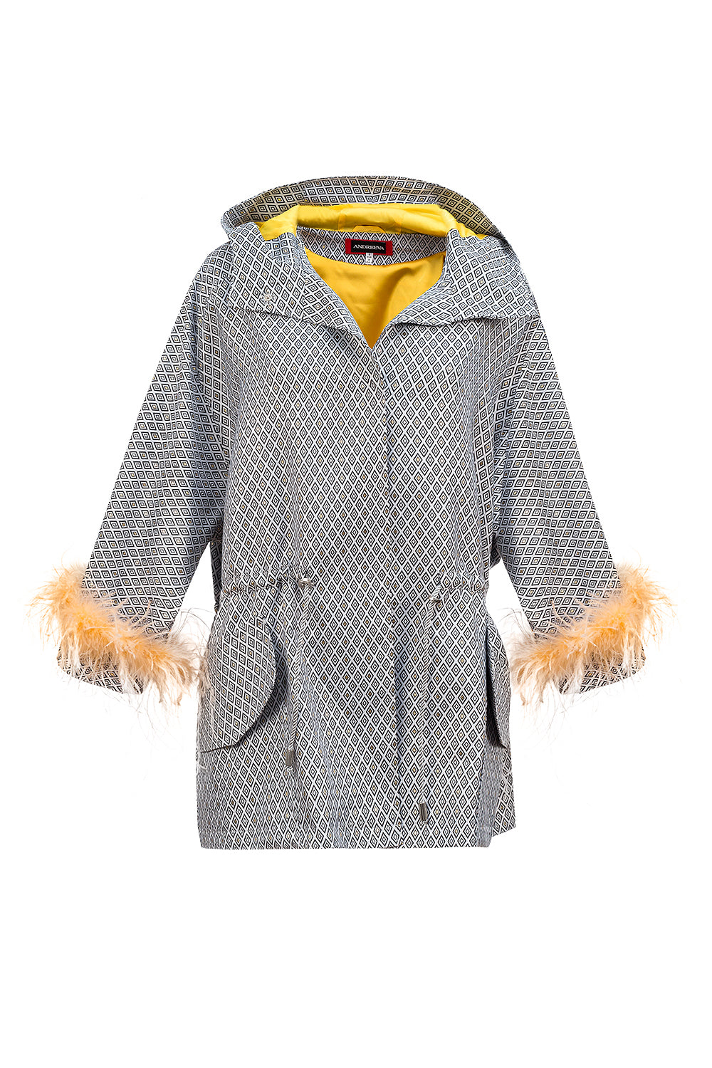 andreeva Multicolor Parka with detachable feather cuffs