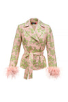 andreeva jacket with feather cuffs