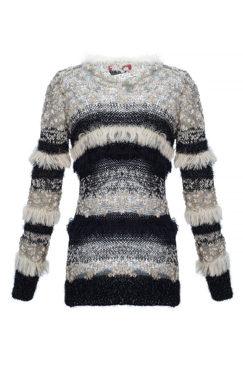 Multicolor Handmade Knit Sweater Dress With Glitter