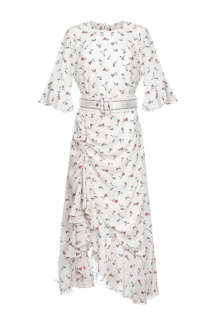 andreeva white dress with floral print