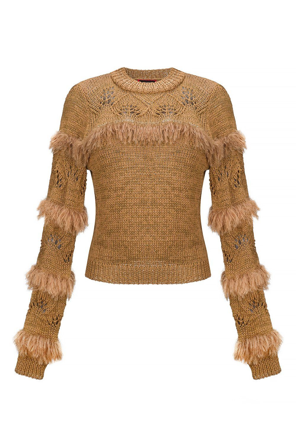 Brown Handmade Knit Swan Sweater