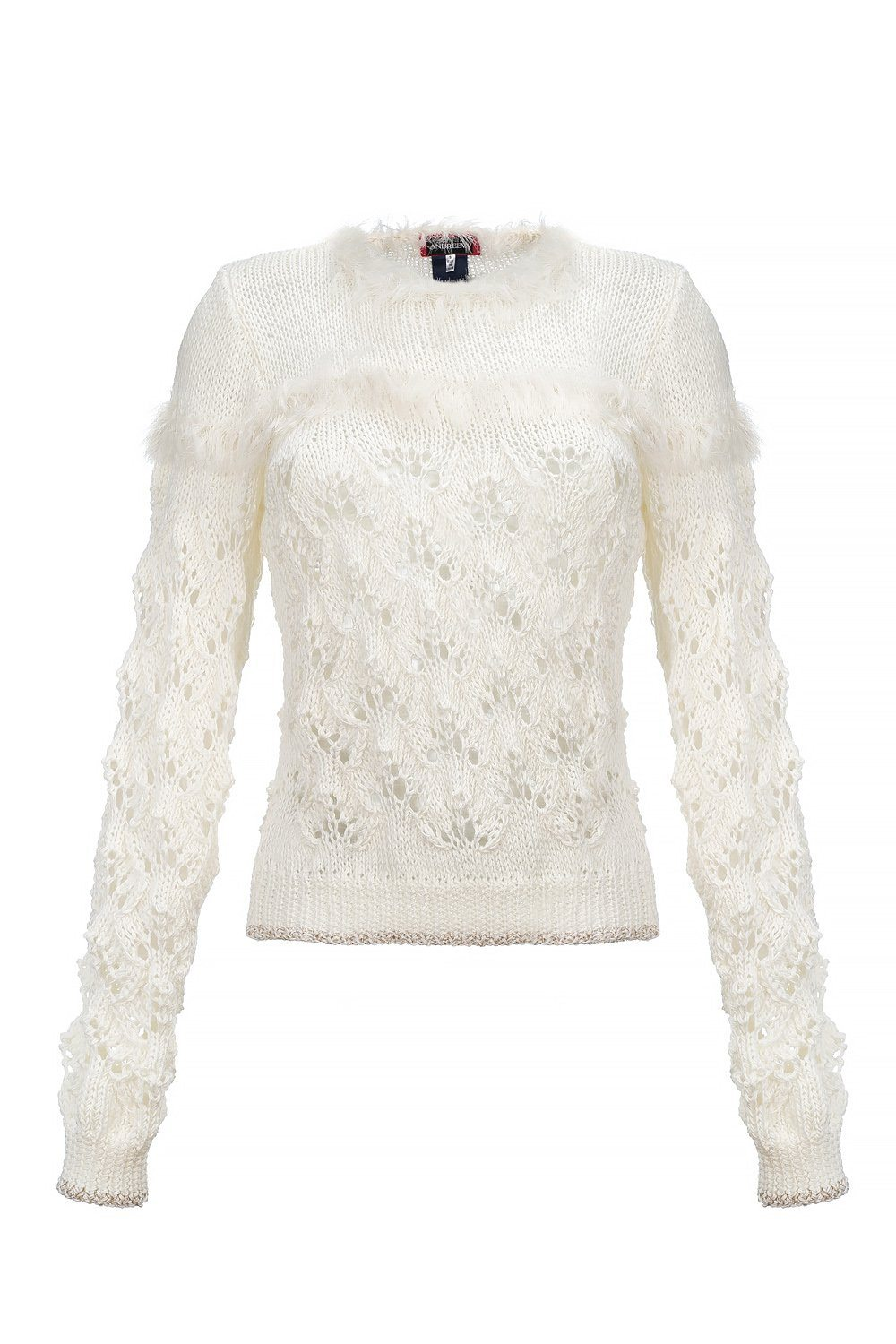 white handmade knit sweater