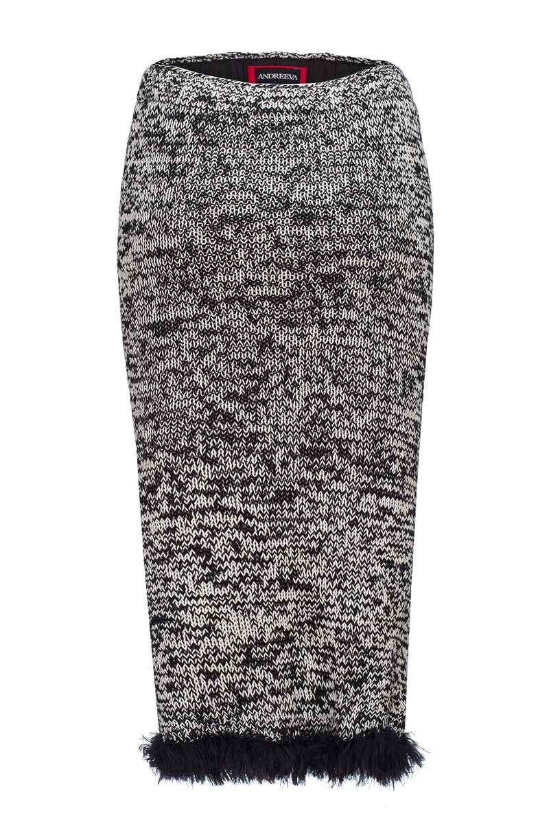 grey handmade knit skirt by andreeva