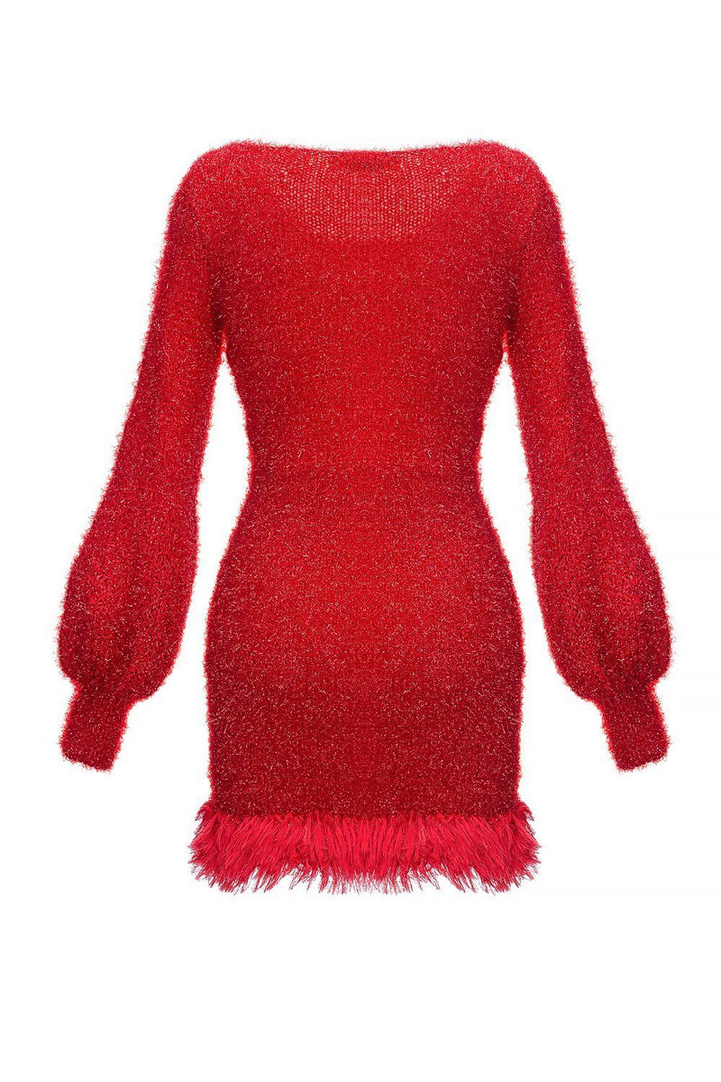 Red Handmade Knit Dress With Glitter - dress