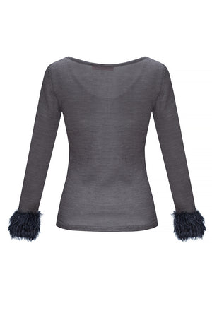 grey knit top by andreeva