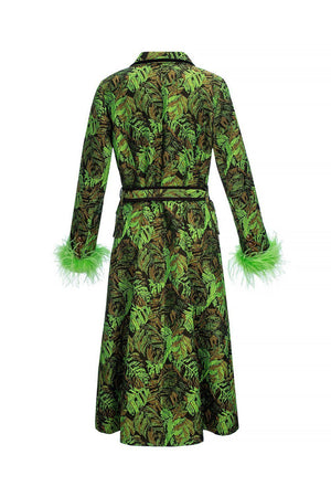 Green Jacqueline Coat With Detachable Feathers Cuffs - coat