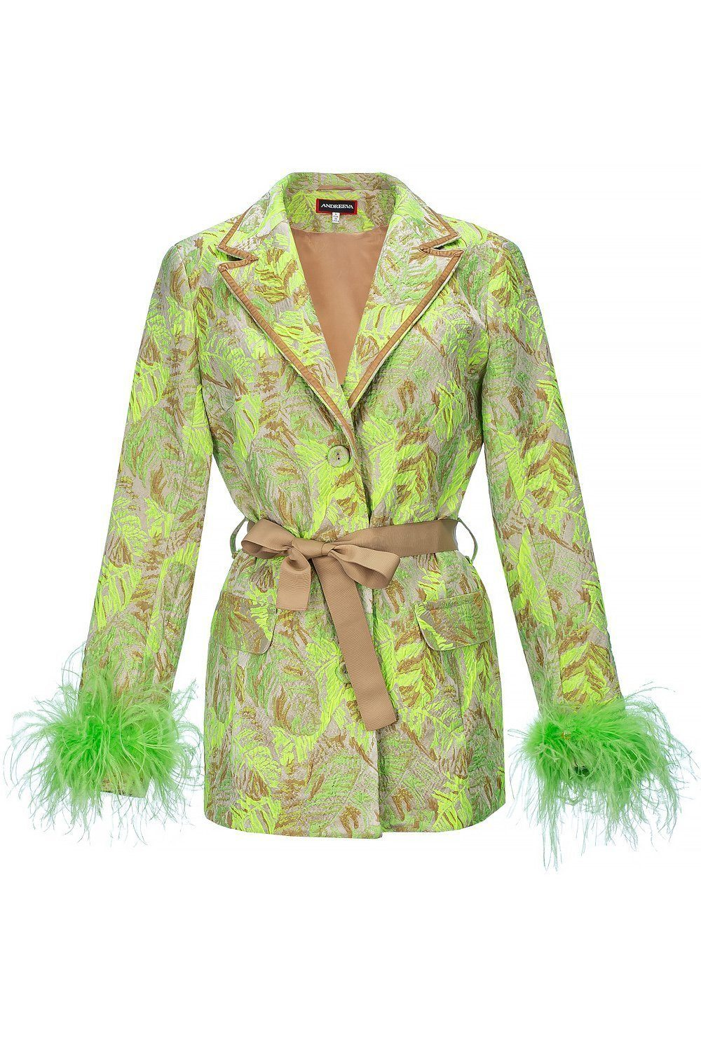 Mint Jacqueline Jacket With Detachable Feather Cuffs - jacket