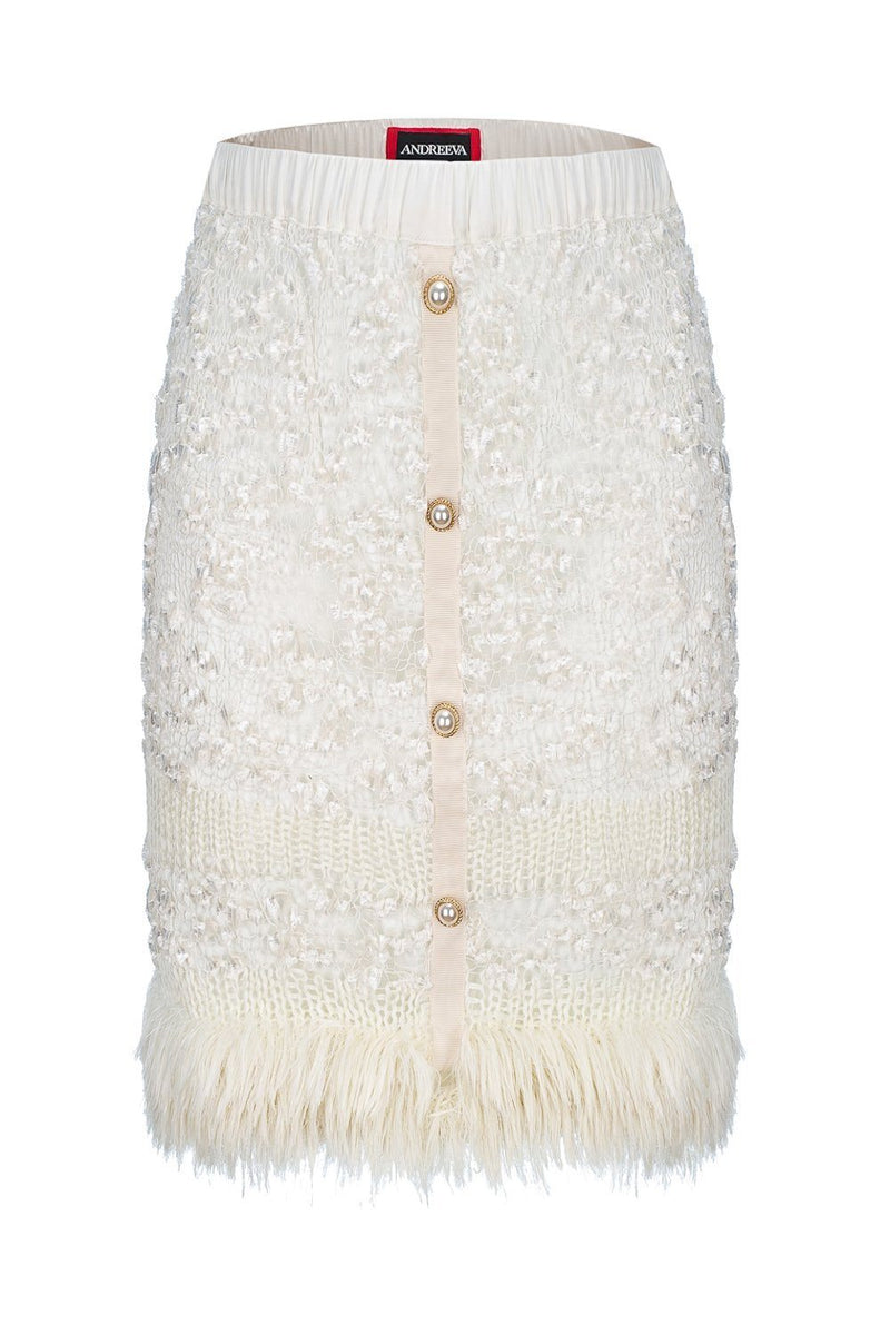 andreeva white handmade knit skirt with pearl buttons