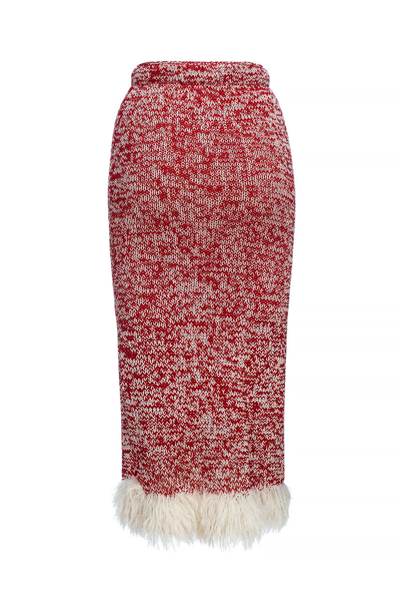 red handmade knit skirt by andreeva
