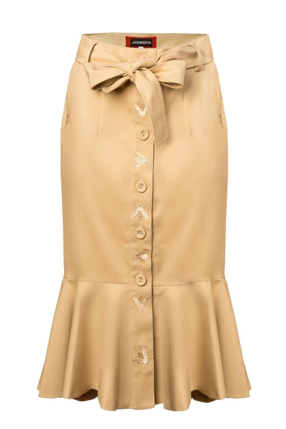 Beige Pion Cotton Skirt With Embroidery - skirt
