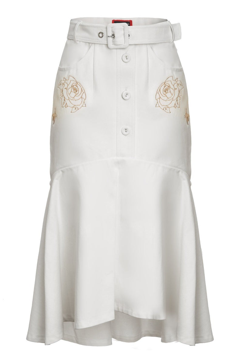 White Pion Cotton Skirt With Rose Embroidery - skirt