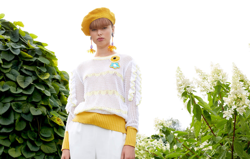 Summer Knit Sweater With Embroidery - sweater