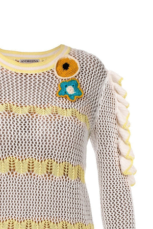 andreeva womens summer knit yellow sweater