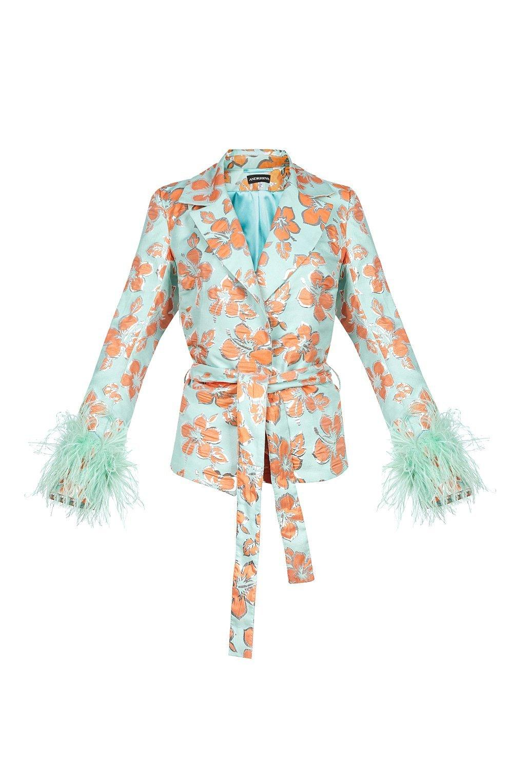 Vanilla jacquard jacket with detachable feathers cuffs