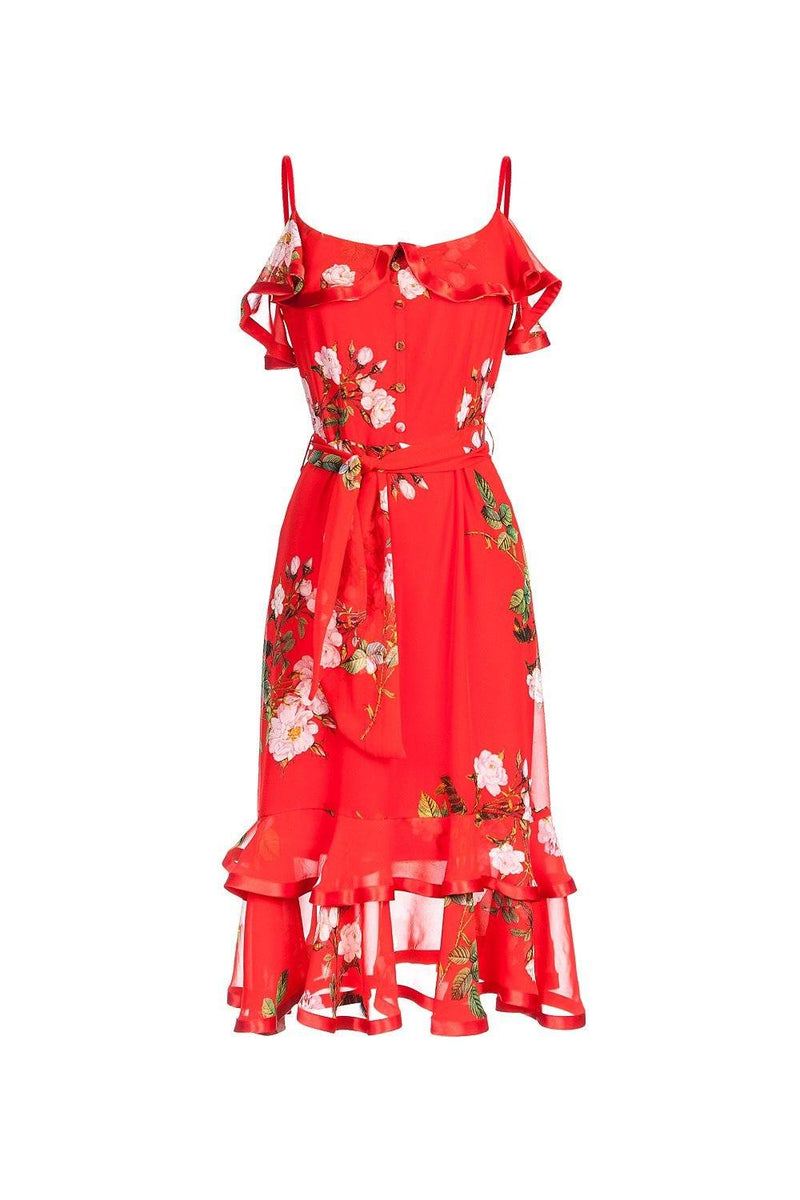 Blue rose dress - XS / red - dress