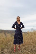 Blue Rose Midi Dress - dress