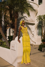 andreeva yellow handmade knit dress
