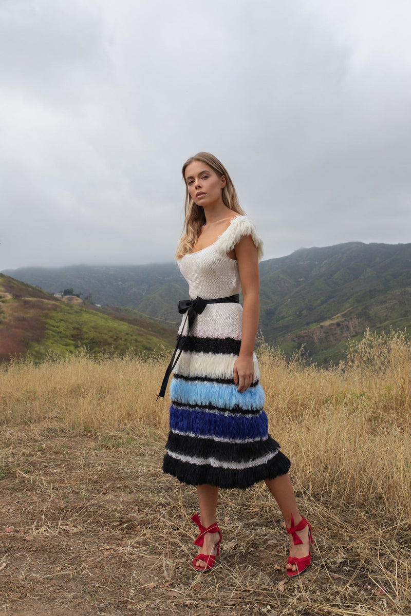 Sundown Handmade Multicolor Knit Dress - dress