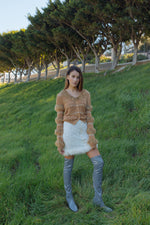 Brown Sundown Handmade Knit Sweater With Pearl Buttoms - sweater