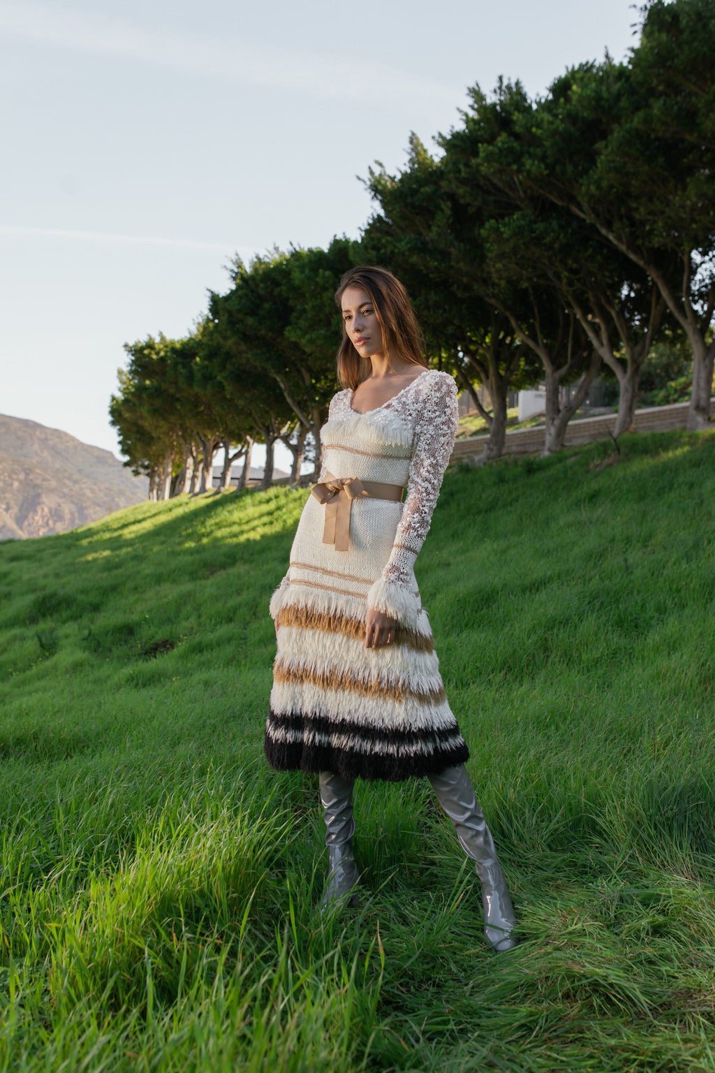 Brown Sundown Handmade Knit Dress - dress knitwear