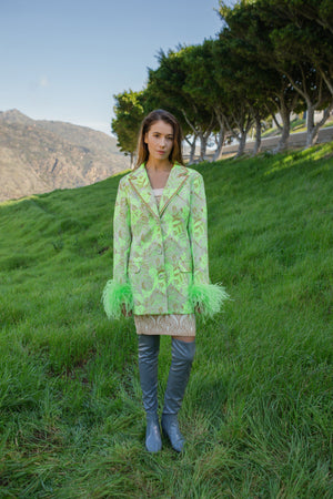 andreeva mint jacket with feather detachable cuffs