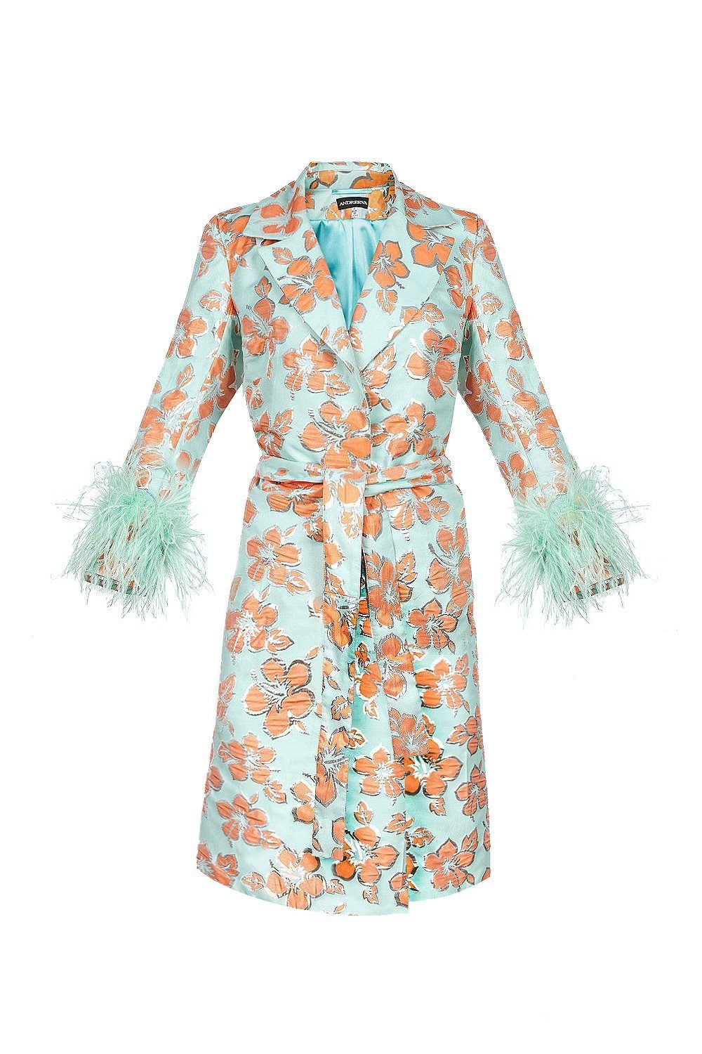 Vanilla jacquard coat with detachable feathers cuffs - coat