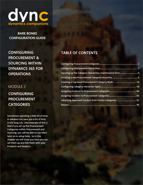 BBCG 09 02 D365 WG 1 PDF: Configuring Procurement and Sourcing within  Dynamics 365 for Operations - Module 2: Configuring the Procurement  Categories